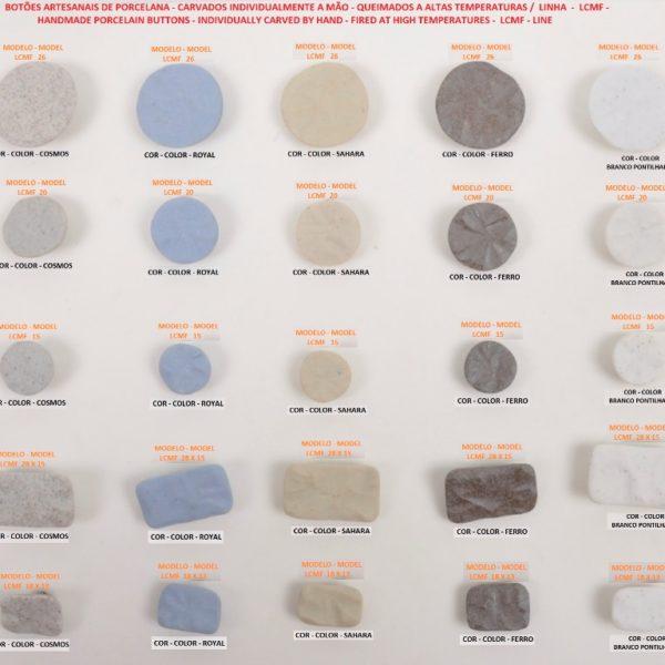 Botões artesanais de porcelana - Handmade porcelain buttons - Linha LCMF - LCMF Line